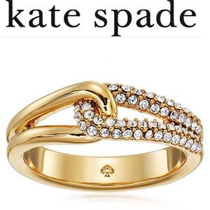 Kate Spade Pave Loop Clear/Gold Ring, Size 8